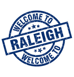 Welcome to raleigh blue stamp vector