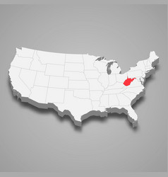 West virginia state location within united states vector