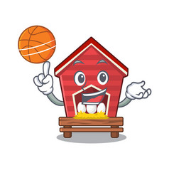 With basketball chicken coop isolated vector