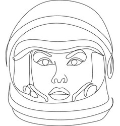 Woman astronaut flowers line vector