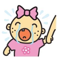 Cartoon crying baby girl isolated vector image