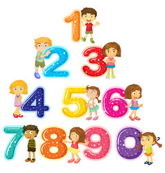children and numbers one to zero vector image
