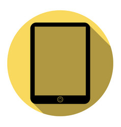 computer tablet sign flat black icon with vector image
