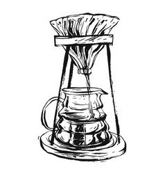 hand drawn ink graphic vintage coffee maker vector image vector image