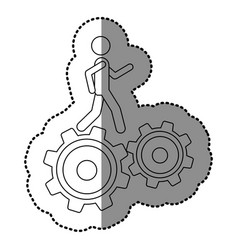 monochrome contour sticker with man over two vector image vector image