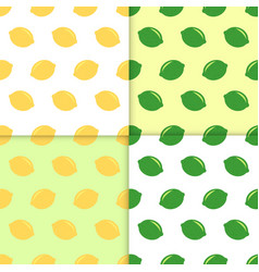 seamless pattern with lemons and limes doodle vector image