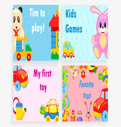 Time to play kids games my first favorite toy vector