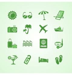 Vacation travel green icons set vector image vector image