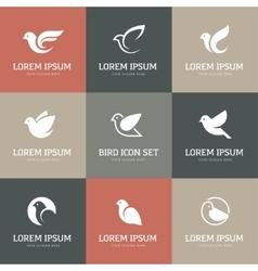 White bird icons set vector