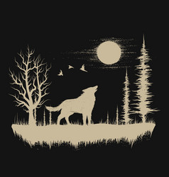 wolf in the strange forest vector image