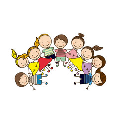 colorful happy group cartoon children vector image