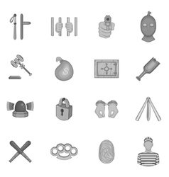 Crime icons set black monochrome style vector image vector image