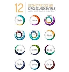 Set of abstract swirls and circles logo vector image