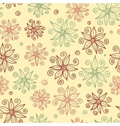 Beautiful doodle flowers seamless pattern vector image vector image