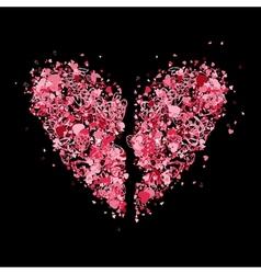 Broken heart shape for your design vector image vector image