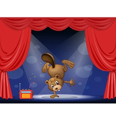 Cartoon Performing Beaver vector image vector image