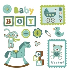 Colorful collection of baby boy announcement vector image