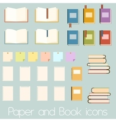 Set of flat book icons vector image