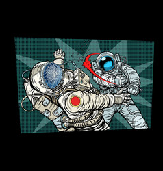 two cosmonauts fight the space war vector image vector image