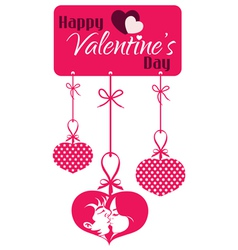Valentine Couple Kissing Hanging Tag vector image