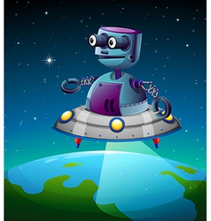A robot above the earth vector image vector image