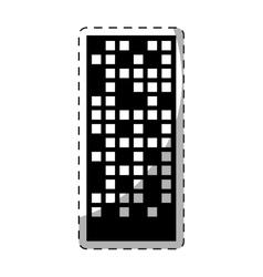 Black building line sticker image vector