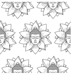 buddha and lotus seamless pattern vector image vector image