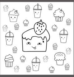 cute hand drawn desserts doodles design vector image vector image