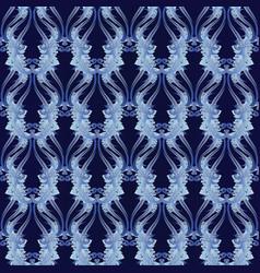 floral baroque seamless pattern blue damask vector image