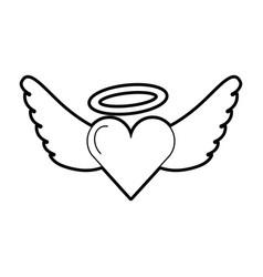 romantic heart love wings valentine tattoo vector image