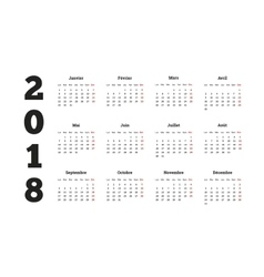 Simple calendar on 2018 year in french language vector image
