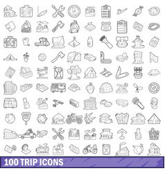 100 trip icons set outline style vector