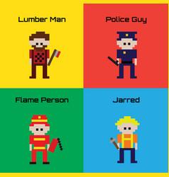 16-bit cartoon worker characters vector image