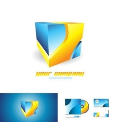Abstract blue orange cube 3d logo design vector