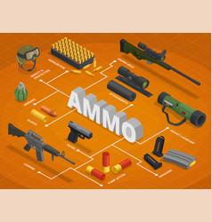 Ammo weapons isometric flowchart vector