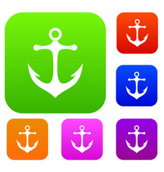 anchor set color collection vector image
