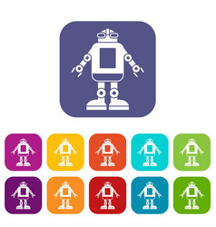 automation machine robot icons set flat vector image