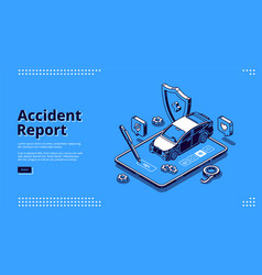 Banner police report car accident vector