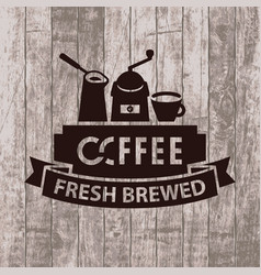 Banner with cezve grinder and cup of coffee vector