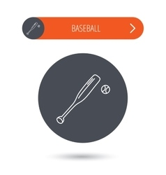 Baseball bat with ball icon Professional sport vector image