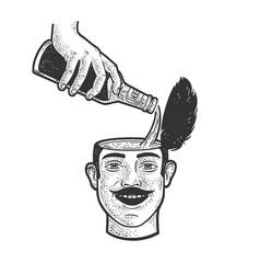 beer poured into head sketch vector image