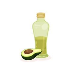 Bottle of fresh green oil and half of ripe avocado vector