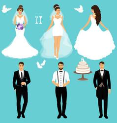 Bride and groom couple wedding set vector