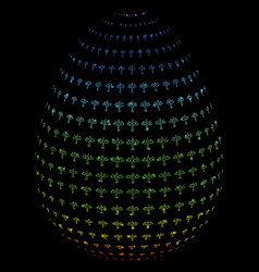 bright mesh carcass abstract airplane egg with vector image