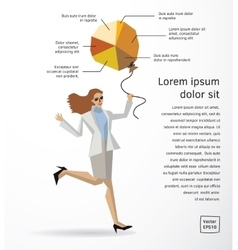 Business woman info graphics diagram flat vector image