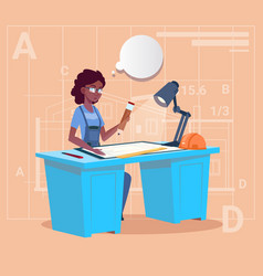 Cartoon african american builder sitting at desk vector