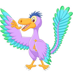 cartoon archaeopteryx waving vector image