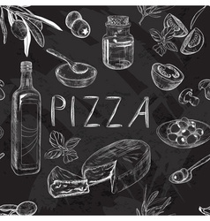 Chalkboard Seamless Pizza Menu Pattern vector image