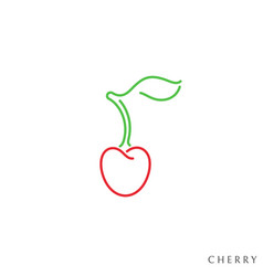 cherry outline style vector image