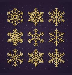christmas golden glitter snowflakes set winter vector image
